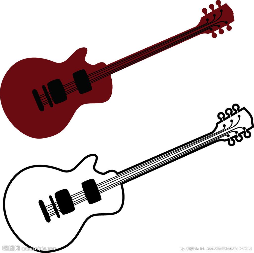 铅笔画素描人物吉他
